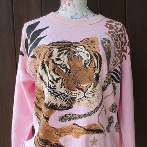 Vtg Pink Tiger Sweatshirt L